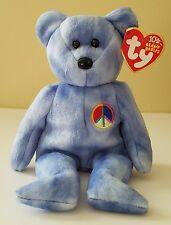 PEACE SIGN BEAR PASTEL BLUE BEANIE BABY WITH TAG ERRORS!  MWMT!  SOFT & PLUSH!