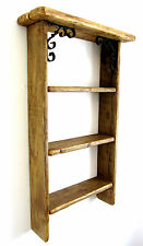 71CM SHABBY CHIC RECLAIMED PALLET WOOD RUSTIC BROWN WAXED 3 TIER SHELF
