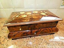 New ListingVintage Large Sorrento Inlaid Wood Music Jewelry Box Works Italy