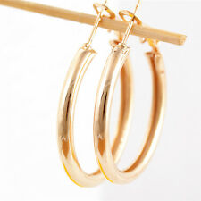 Popular Women's Simple Gold Filled Great Big Hoop Ear Stud Earring Jewelry