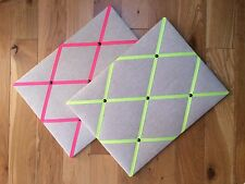 Linen fabric memo board, notice board, pin board, with neon ribbons, 40x30cm