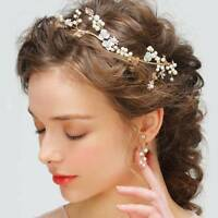 Bridal Metal Leaf Pearl Flower Wedding Hair Accessories Bride Headband Tiaras