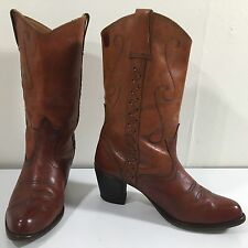 Vtg 70's Women Hippie Brown Leather Cowboy Western Boho Laced Short Boot Heels 8