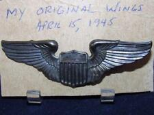 Original WWII USAF USAAF Pilot Wings Pinback Sterling United States Air Force 3""