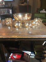 EGG NOG SET Punch Bowl~ Marigold Carnival Glass ~ Gorgeous! 6 Cups 1 Bowl