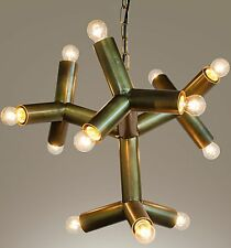 """22"""" Chandlier Metal Pipe Antique Brass Finish 12 Bulbs Abstract Industrial"""
