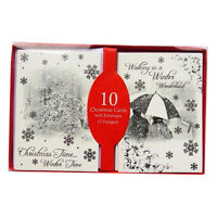 Winter Wonderland Scene Christmas Cards with Envelopes - 10 Pack - 140 x 100mm