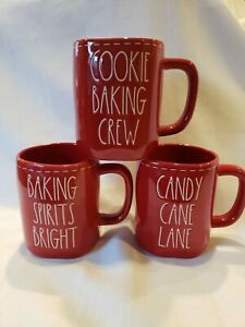 Rae Dunn Cookie Baking Crew, Sweet Holiday Wishes, Candy Cane Lane Christmas Red