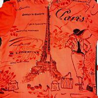 Jane Ashley Hoodie Paris Eiffel Tower Hood Sequin Red Womens Size 2XL