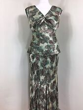 Country Casuals CC Green Silk Mix Suit Outfit 2 piece Mother Bride UK10  (A1