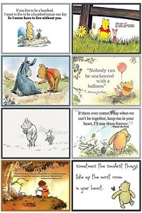WINNIE THE POOH - 2 x A4 SHEETS OF CARD TOPPERS- SCRAPBOOKING - 250GSM