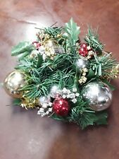 Plastic Vtg Christmas Candle Ring w/ Greenery Silver Gold Red Ornaments