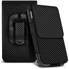 Veritcal Carbon Fibre Belt Pouch Holster Case For Nokia 215