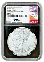 2021(P) 1-OZ SILVER EAGLE STRUCK AT PHILLY NGC MS70 FDI MERCANTI