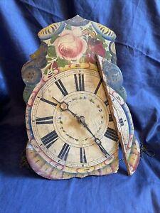 Schilderuhr Schwarzwalduhr Antik Wanduhr Uhr Pendeluhr Barock Schild Vintage