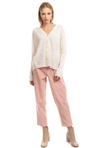 RRP €190 JUMPER 1234 Cashmere Cardigan Size 2 M Thin Knit Dipped Hem Long Sleeve