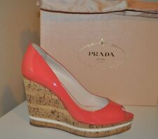 NIB $790+ PRADA Pink Orange Patent Peep Toe Espadrille Cork Wedge Pump Shoe 38.5
