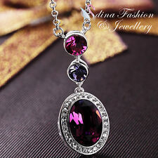 18K White Gold Filled Made With Swarovski Crystal Oval Cut Purple Necklace