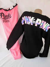 Victoria's Secret PiNK Sweatpants Varsity Sweatshirt Gym Geo 2PC SET NWT