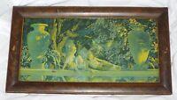 "Old Antique 1918  ""GARDEN OF ALLAH"" Maxfield PARRISH Framed PRINT"