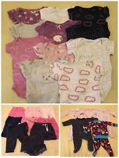 Lot of 25 Girl's Size 0-3 Months Clothes - Pants/Shorts/Pajamas/Bodysuits
