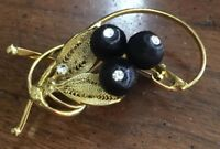 Vintage Gold Intricate Silk Wrapped Rhinestone Berry Brooch Pin