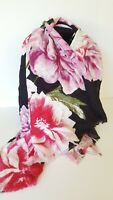 INC International Concepts floral print women's scarf wrap pashmina -BLACK/PINK
