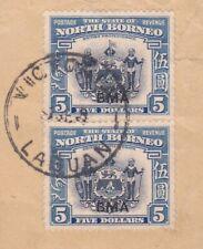 North Borneo 1945 RARE ITEM 5$ PAIR USED , SG 334
