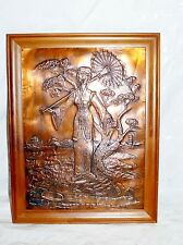 Vintage Chinese Girl & Parasol Hammered Embossed Copper Picture Wall Art Framed