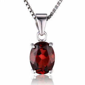 Luxury 2.4ct  Natural Deep Red Oval Garnet Pendant Necklace 925 Silver Ladies