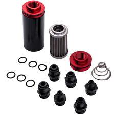 AN6 AN8 AN10 Inline Fuel Filter Oil Catch Can High Flow Cleanable Black Red 50mm