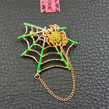 Crystal Betsey Johnson Charm Brooch Pin New Woman's Green Enamel Spider Web
