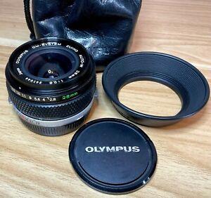 Olympus OM Zuiko 28mm f/2.8 Auto-W Lens + OM Hood, Case & Caps - LOVELY!! (044)