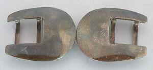 Unisex Sterling Silver large Double Buckle, unusual & unique, vintage scalloped