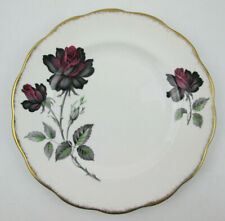 Royal Albert Masquerade 8 1/8 Salad Plate Black & Red Roses Gold Scalloped Edge