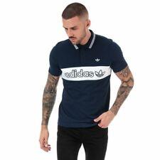 Para Hombre Adidas Originals Donnerstag Colourblock Regular Fit Algodón Polo en Azul
