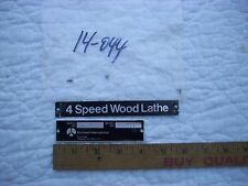 """Name & Model/Serial Number Plates  from 11"""" Delta Rockwell Wood Lathe #46-111"""