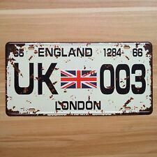 """Vintage License Car Plates """"UK-003 London England"""" Vintage Metal Signs Crafts"""