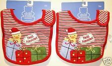 *2-SET* CHRISTMAS BABY BIBS Ducky Girls & Boys Feliz Navidad Cotton Carter NEW