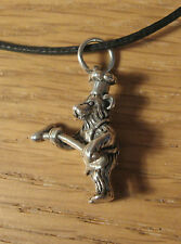 BBQ Chef Teddy Bear Charm Pendant Necklace .925 Sterling Silver USA Made