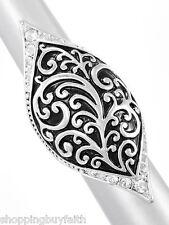 Women's Long Silver Designer Ring Rhinestones Silver Black ShoppingBuyFaith