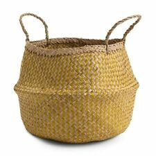Yellow & Natural ZigZag Belly Basket Mustard Colour