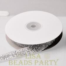 "10 Yards 5/8"" 16mm Sparkle Glitter Velvet Ribbon Sewing Wedding Silver"