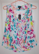 NWT WORTHINGTON Womens Floral Painter Shell Sz PM NEW