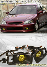 99-00 Civic OEM JDM Glass Fog Lights Lamps Kit (Yellow)