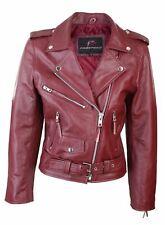 BRANDO Ladies Burgundy Classic Biker Motorcycle Motorbike Hide Leather Jacket