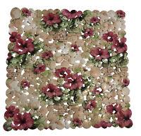 Rutschfeste Duscheinlage/ Duschmatte, PVC, Anti Slip, Blumen Muster 43 x 43cm