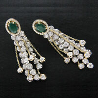 1.00Ct Round Cut Diamond & Emerald Drop Dangle Earrings 14k Yellow Gold Over