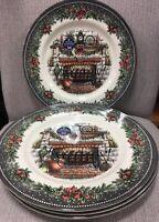 ROYAL Stafford  Christmas Hearth Fireplace dinner plates 2019 Lot/4