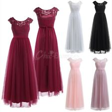 Women Lace Formal Long Dress Cocktail Evening Wedding Party Prom Bridesmaid Gown